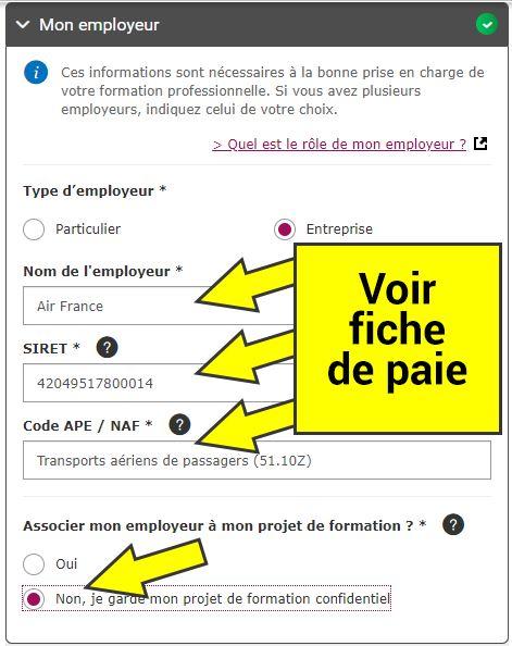 Indiquer le nom de l'employeur, le numéro SIRET, le code APE (ou NAF) trouvable sur la fiche de paie.