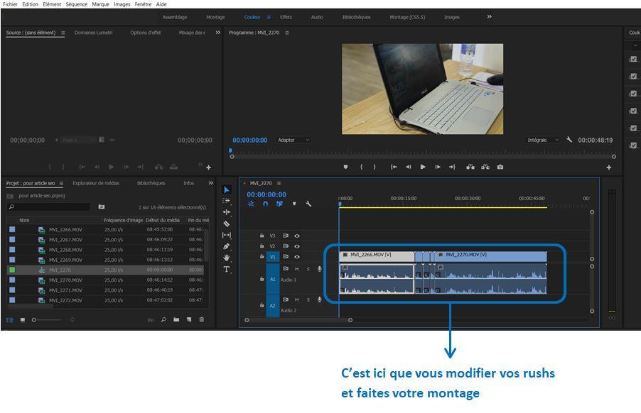 Montage video_fenetre montage Premiere Pro