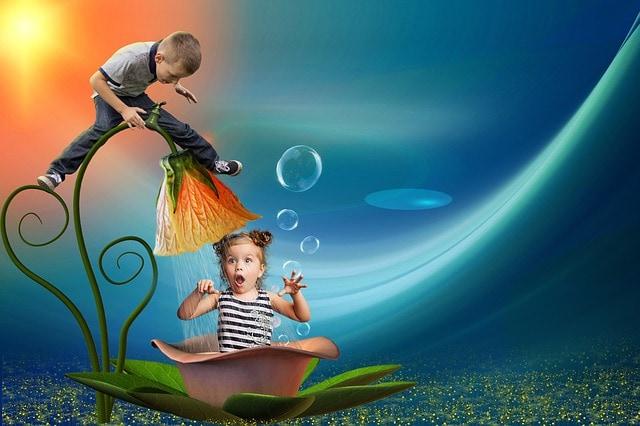photo montage enfants avec fleur