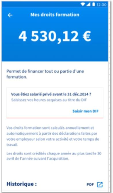 Mon Compte Formation-soldes droits formation
