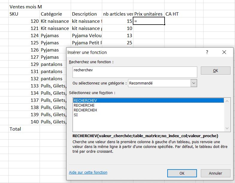 Excel assistant de fonction