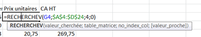 Excel recherchev