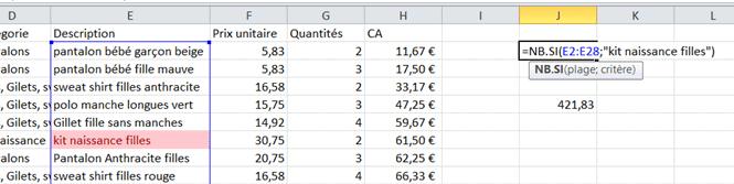 Excel Utiliser NB.SI
